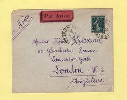 Type Semeuse - 2f Seul Sur Lettre Par Avion Destination Angleterre - Marseille Gare Avion - 27-4-1931 - Marcophilie (Lettres)
