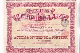ACCION ACTIONS COMPAGNIE GENERALE DES TRAMWAYS ELECTRIQUES DE ROSARIO SA. ACTION DE DIVIDENDE AU PORTER 1943-RARE- BLEUP - Chemin De Fer & Tramway