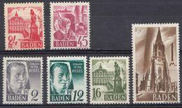 BADEN - DEUTSCHLAND - ALLEMAGNE - GERMANIA - 1947/1948 - Lotto Composto Da 6 Valori Nuovi MNH: Yvert 1, 4, 6, 8, 9 E 13. - Zone Française