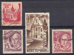 WURTTENMBERG - OCCUPAZIONE FRANCESE GERMANIA - 1947/1948 - Lotto Formato Da 4 Francobolli Usati: Yvert  5, 8, 9,  E 13. - Zone Française