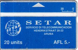 ARUBA(L&G) - SETAR Telecom Logo 20 Units, CN : 204A, Used - Aruba