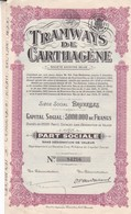ACCION ACTIONS TRAMWAYS DE CARTHAGENE SA BELGE SIGNE CIRCA 1940s-RARE- BLEUP - Chemin De Fer & Tramway