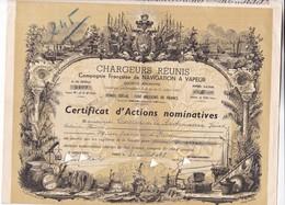 ACCION ACTIONS CHARGEURS REUNIS COMAGNIE FRANÇAISE NAVIGATION A VAPEUR ANN 1948 SIGNEE -RARE- BLEUP - Transports