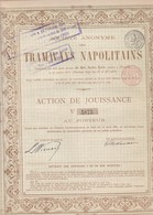 ACCION ACTIONS TRAMWAYS NAPOLITAINS SIGNEE AN 1910  -RARE- BLEUP - Chemin De Fer & Tramway