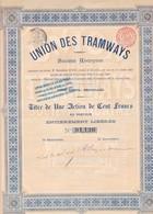 ACCION ACTIONS UNION DES TRAMWAYS SA SIGNEE AN 1904 BRUXELLES  -RARE- BLEUP - Chemin De Fer & Tramway