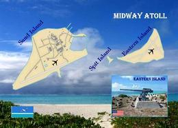 Midway Islands Map New Postcard - Midway