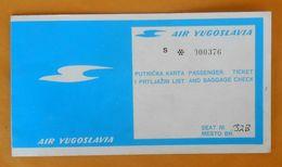 AIR YUGOSLAVIA Ex Small Yugoslavian Airline - 1973. Passenger Ticket On Fly Gatwick-Dubrovnik-Gatwick * Billet Airlines - Europa