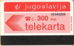 Yugoslavia - JUG-46, Autelca, Logo - Red (Muflon Radece), 300U, CN: 8 Digits, 100.000ex, Used - Joegoslavië
