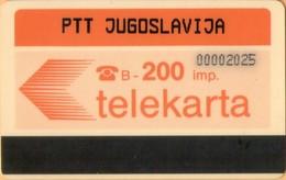 Yugoslavia - JUG-F-1, Autelca, Logo -Orange (Bosnia,Makedonia,Montenegro,Serbia), PTT, 200U, 35.000ex, Used - Joegoslavië