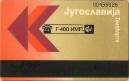 Yugoslavia - JUG-F-1, Autelca, CN At Top Right (Lighter Gold) (Montenegro,Serbia), PTT, 400U, 5.000ex, Used - Joegoslavië