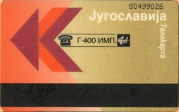 Yugoslavia - JUG-F-1, Autelca, CN At Top Right (Lighter Gold) (Montenegro,Serbia), PTT, 400U, 5.000ex, Used - Yougoslavie