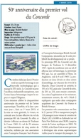 """FICHE ETUDE RECTO-VERSO SUR """" 50ème Anniversaire Du Premier Vol De CONCORDE """" - France"""