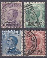 SALONICCO - 1909 - Lotto Di 4 Valori Usati: Unificato 1, 2, 4 E 5. - Uffici D'Europa E D'Asia