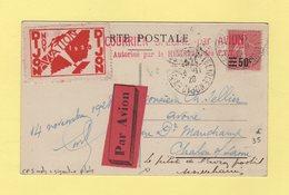 Type Semeuse - 50c Sur 85c Seul Sur Cp 5 Mots Par Avion - Exposition Philatelique Dijon - Signature Du Pilote - 1928 - Postmark Collection (Covers)