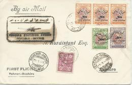 Persia Iran Perse 20 April 1928 ,Tehran To Bushir 1° Flight By Junkers(black Cachet)Primier Courrier Aerian - Iran