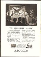 1944 Bell & Howell Camera Ad Publicity - Air Combat Movie - Messerschmitt Plane Hit - War Time WWII WW2 - Advertising