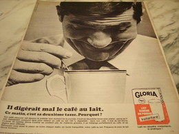 ANCIENNE  PUBLICITE IL DIGERE MAL LE CAFE AU LAIT  GLORIA 1965 - Affiches