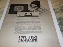 ANCIENNE PUBLICITE QUELLE MUSIQUE  ELECTROPHONE  PATHE MARCONI 1965 - Music & Instruments