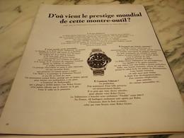 ANCIENNE PUBLICITE PRESTIGE MONDIAL  MONTRE OUTIL ROLEX 1965 - Bijoux & Horlogerie