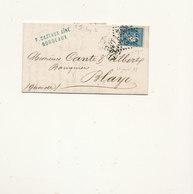 N°45 BORDEAUX SUR LETTRE - 1870 Bordeaux Printing