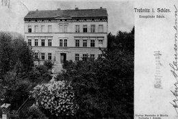 CPA Rare, Trebnitz I. Schies, Evangelische Schule - Poland