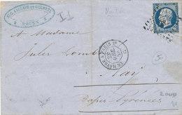 N°14 NUANCE   SUR LETTRE - 1853-1860 Napoleon III