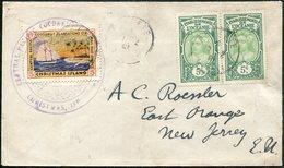 CHRISTMAS ISLAND Pacific 1921 Local Private Post 5 Cents Ship Mail Boat Service Cover Gilbert & Ellice Via Tahiti > USA - Timbres