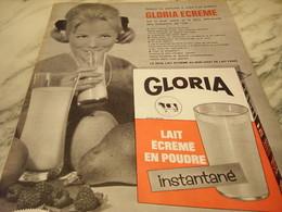 ANCIENNE   PUBLICITE  LAIT  GLORIA ECREME 1965 - Affiches