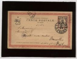 Entier Postal Carte Postale De Perse Valeur 2,1/2  à Destination De Bruxelles Belgique  En 1887 , Iran Cachet Theheran - Iran