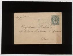 Lettre Entier Postal 5 Centimes Type Blanc Crète Envoyé De La Cannée Vers Oran Algérie - Creta (1902-1903)
