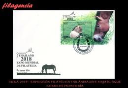 CUBA SPD-FDC. 2018-33 EXPOSICIÓN FILATÉLICA TAILANDIA 2018. FAUNA. CABALLOS. HOJA BLOQUE - FDC
