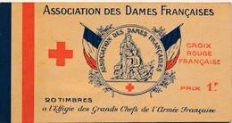I65 - Carnets 20 Timbres - Association Des Dames Françaises - Croix Rouge - A L'effigie Des Grands Chefs De L'Armée... - Croix Rouge