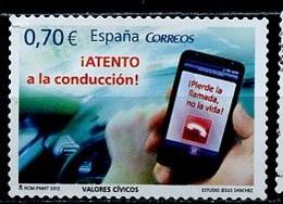 Espagne - Spain - Spanien 2012 Y&T N°4375 - Michel N°4670 Nsg - 0,70€ Attention Au Portable Au Volant - 1931-Today: 2nd Rep - ... Juan Carlos I