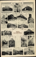 Cp Hambacher Schloss, Trifels, Altdahn Teufelstisch, Madenburg, Fleckenstein, Wasigenstein, Landeck - Cartes Postales