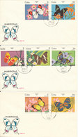 Cuba FDC 31-1-1984 BUTTERFLIES Complete Set Of 7 On 3 Covers With Cachet - FDC
