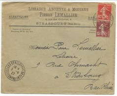 H860 - EXPOSITION PHIL INTERRN STRASBOURG - 1927 - Non Philatélique - Timbre Type Semeuse - - Marcophilie (Lettres)