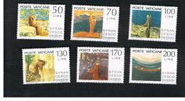 VATICANO (VATICAN) - UNIF. 610.615  - 1977 750^ ANNIV. S. FRNCESO D' ASSISI : SERIE COMPLETA DI 6   -  MINT** - Vatican