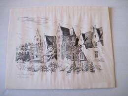 ESTAMPE 49 Le Pessis Macé Partie De Chateau Signée H. ENGUEHARD 28 X 35 Cm Légèrement Jaunie - Prints & Engravings