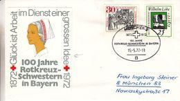 Croix Rouge - Allemagne - République Fédérale - Lettre De 1972 - Oblit München - Infirmières - Avec Vignette - Cruz Roja