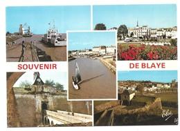 Blaye Le Bac Vue Générale Sur La Ville Entrée Du Port Entrée De La Citadelle Les Douves De La Citadelle - Blaye