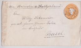 British India Raj Queen Victoria Two Annas Postal Stationery Cover KOTAGIRI To Basel Via Brindisi Sea Post Office 1895 - Inde (...-1947)