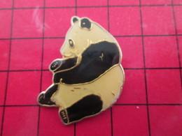 412F Pin's Pins / Beau Et Rare / THEME : ANIMAUX / GROS PANDA CHINOIS SE TRIPOTANT LE BAMBOU - Animaux