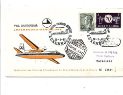 LUXEMBOURG VOL INAUGURAL LUXEMBOURG-BARCELONE PAR COMPAGNIE LUXAIR 1965 - Airplanes