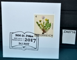 ZA0716 500J Reformation, Bibel, Religion, M. Luther, 3100 St. Pölten AT 24.1.2017 - Poststempel - Freistempel