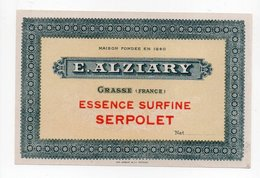 - PARFUMERIE - E. ALZIARY - GRASSE - ESSENCE SURFINE SERPOLET - - Etiquettes
