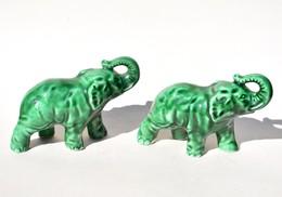 Lot De 2 Statues D'éléphant Vintage - Sujet En Faïence - Altre Collezioni