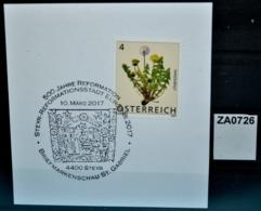 ZA0726 500 Jahre Reformation, Luther, Reformationsstadt, 4400 Steyr AT 10.3.2017 - Poststempel - Freistempel