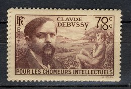 France 1939 - Neuf ** - Y&T N° 437 - Pour Les Chomeurs Intellectuels - Claude Debussy 70c + 10c - Gomme D'origine - France