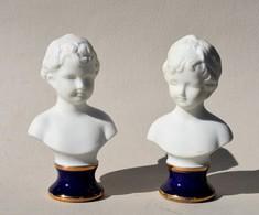 Lot De 2 Petits Bustes D'enfants En Porcelaine Et Biscuit – 9.5 Cm - Sonstige