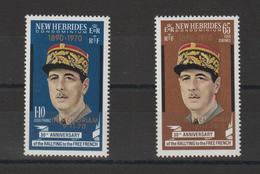 Nouvelles-Hébrides Légende Anglaise 1970 Général De Gaulle Surchargé 306-307 ** 2val. MNH - Nuevos